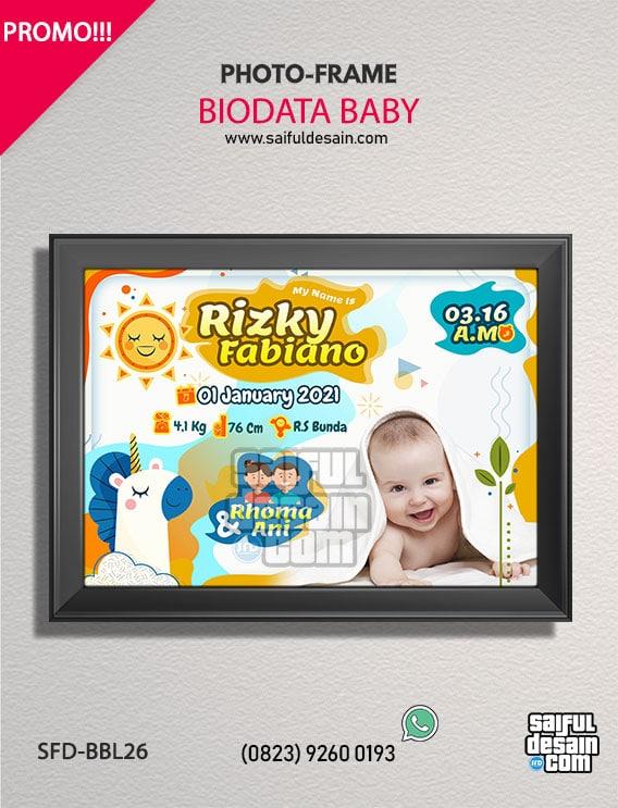 Hiasan Dinding Pigura Kado Bayi - Biodata Bayi - Baby Bio ...