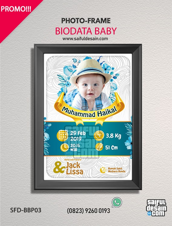 Custom Frame / Bingkai Potrait Biodata Bayi / Baby ANAK ...